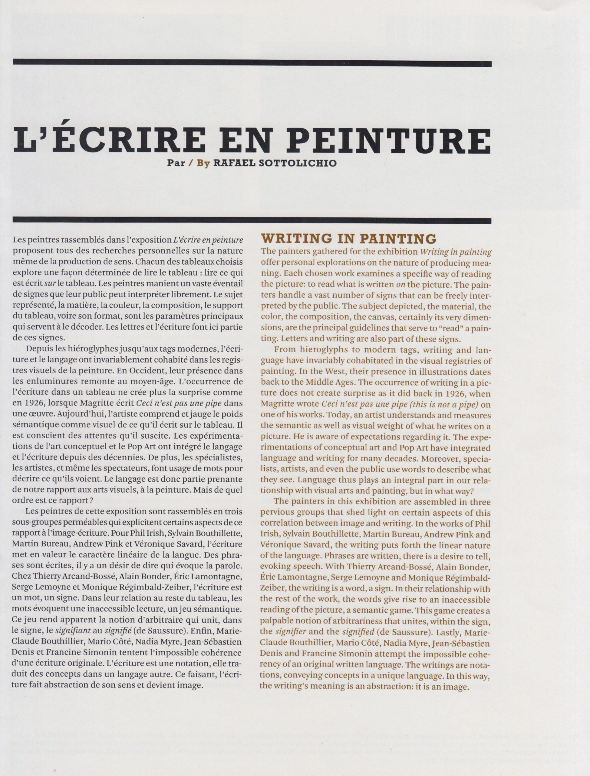 L'Écrire en peinture, Raphaël Sottolichio, 2009