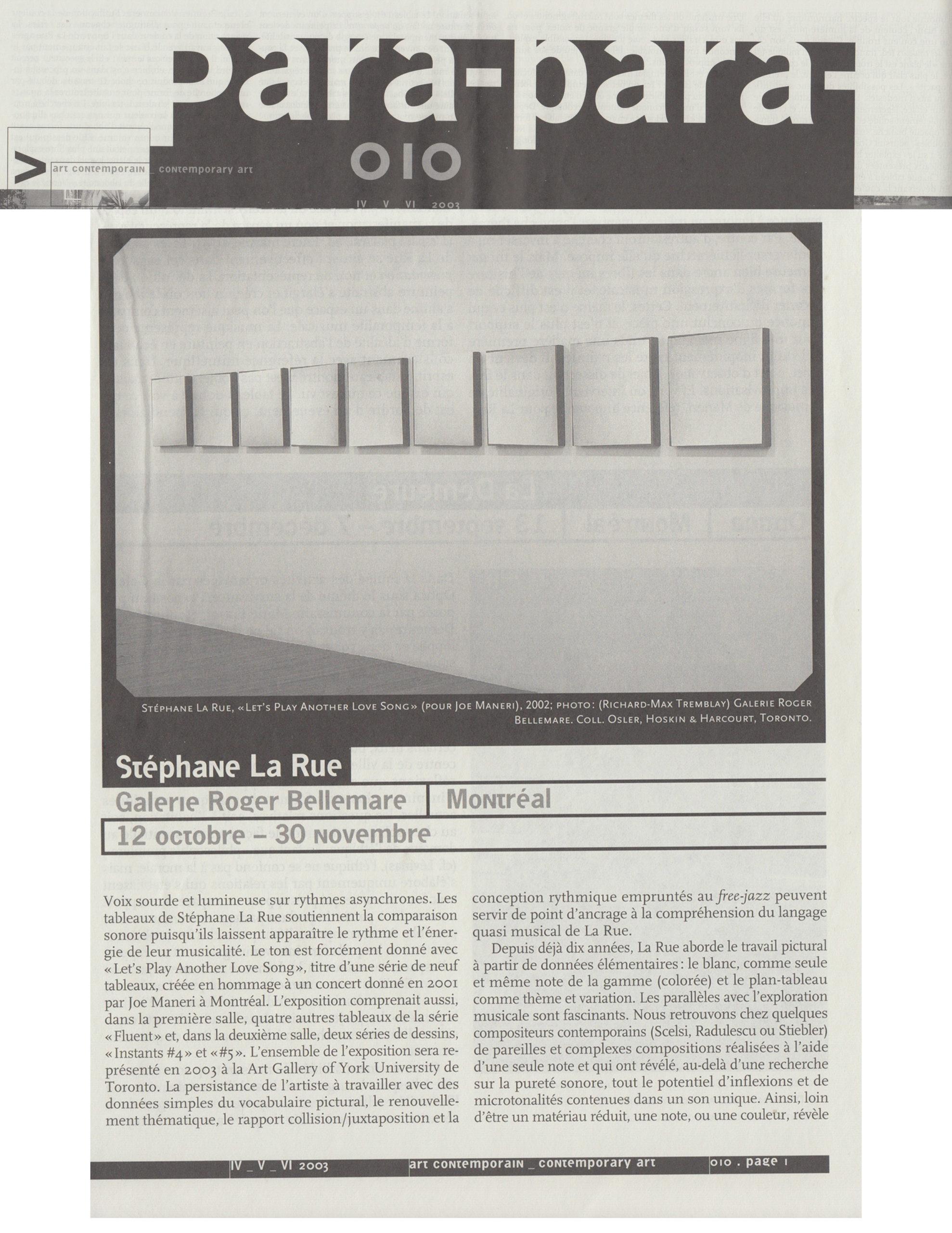 Voix sourde et rythme asynchrones, Stéphane La Rue, Para-Para, no 010, 2003