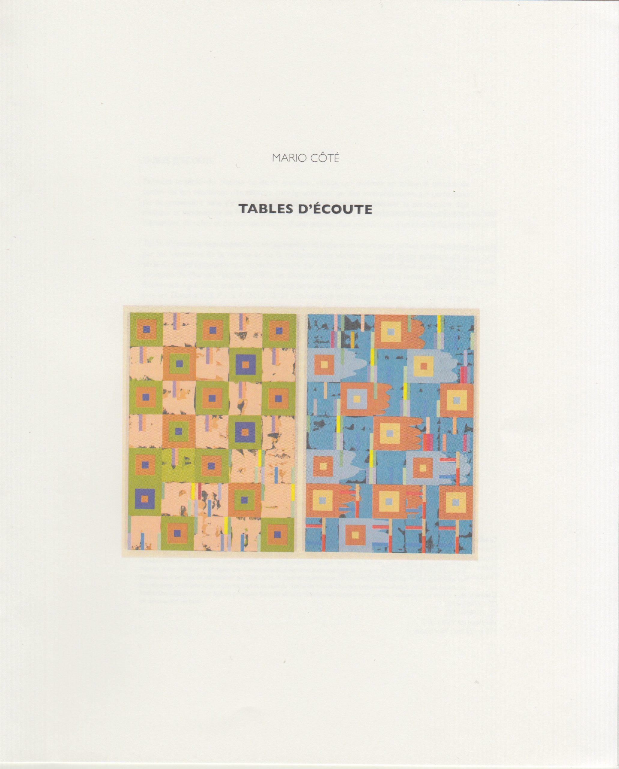 Tables d'écoute, Patrice Loubier, Mario Côté, 2013